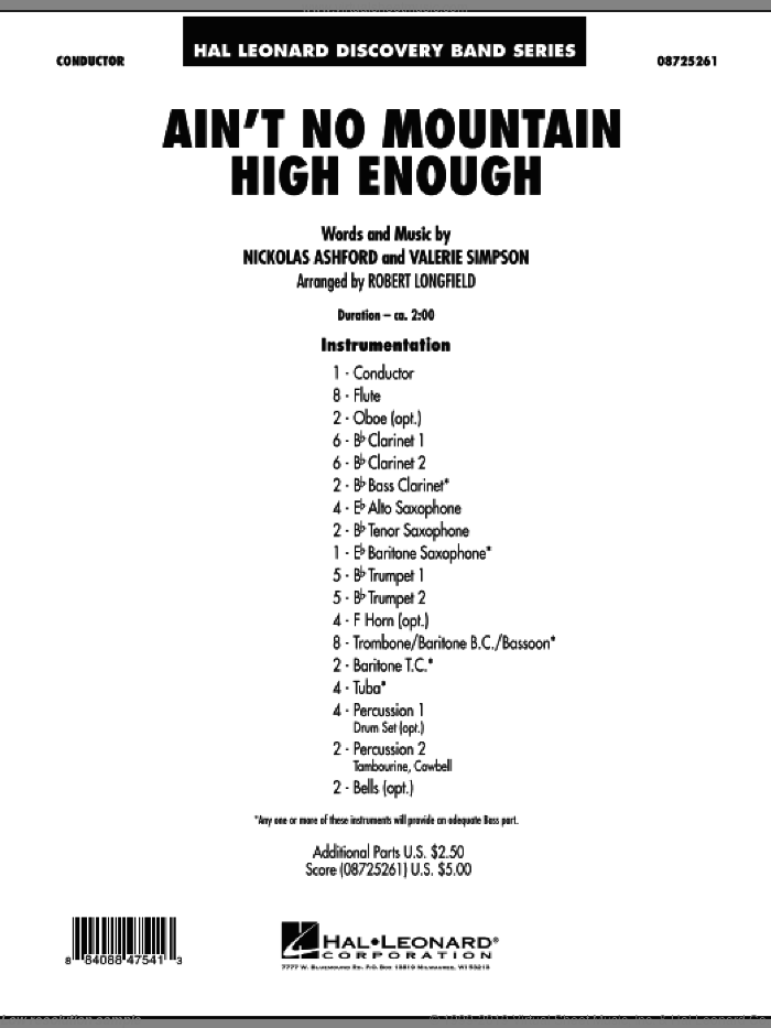 Ain't No Mountain High Enough (COMPLETE) sheet music for concert band by Nickolas Ashford, Valerie Simpson and Robert Longfield, intermediate. Score Image Preview.