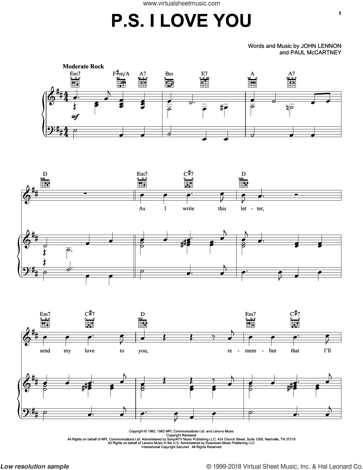 P.S. I Love You sheet music for voice, piano or guitar by The Beatles, John Lennon and Paul McCartney, intermediate. Score Image Preview.