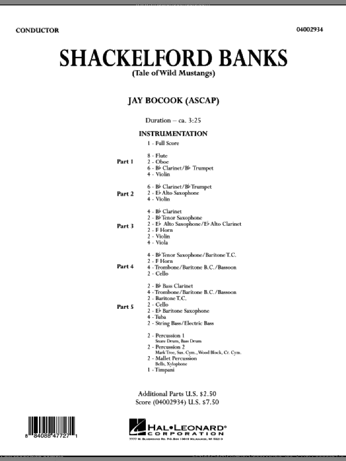 Shackelford Banks (Tale of Wild Mustangs) (COMPLETE) sheet music for concert band by Jay Bocook, intermediate. Score Image Preview.