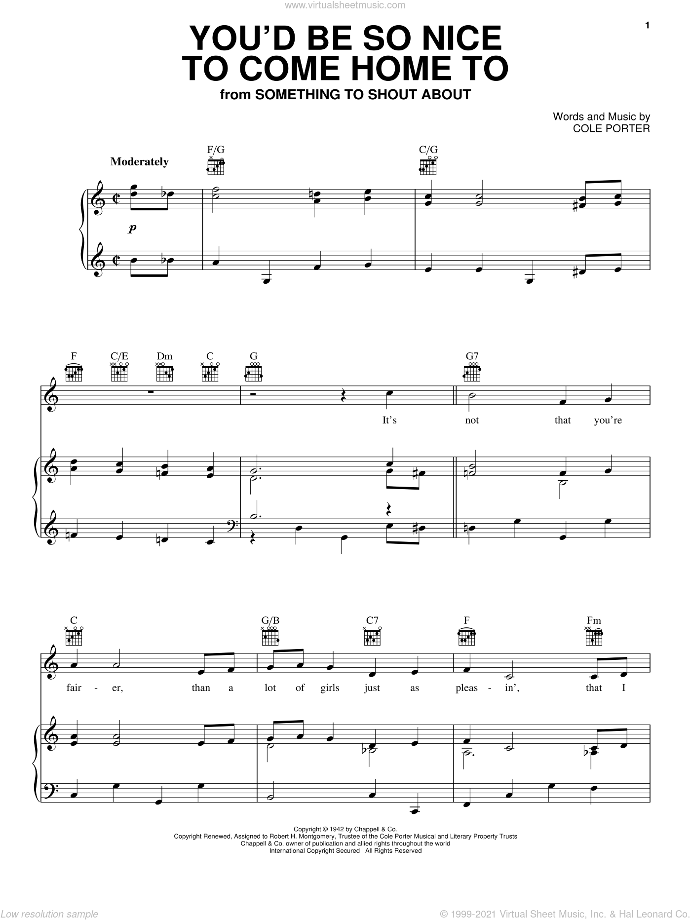 You'd Be So Nice To Come Home To sheet music for voice, piano or guitar by Dinah Shore