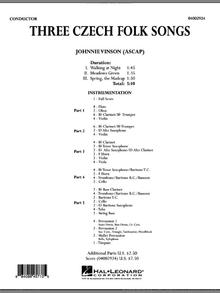 Three Czech Folk Songs (COMPLETE) sheet music for concert band by Johnnie Vinson, intermediate skill level