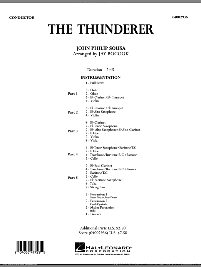 The Thunderer (COMPLETE) sheet music for concert band by John Philip Sousa and Jay Bocook, intermediate. Score Image Preview.