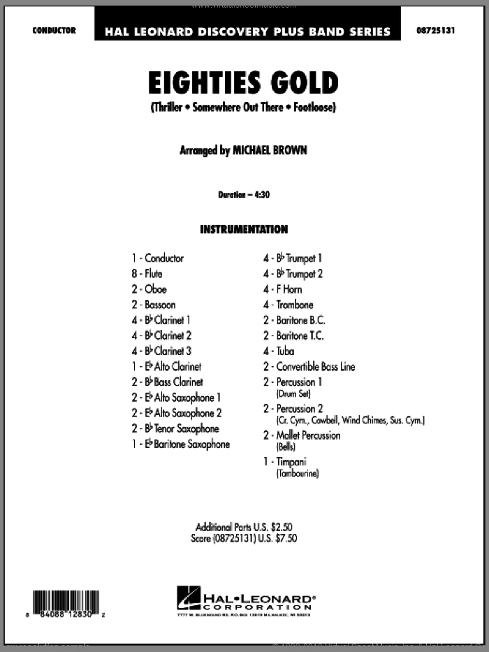 Eighties Gold (COMPLETE) sheet music for concert band by Michael Brown, intermediate skill level