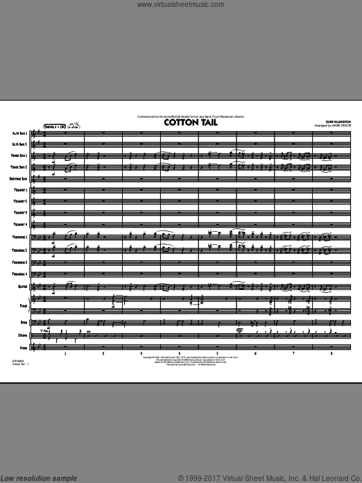 Cotton Tail (COMPLETE) sheet music for jazz band by Duke Ellington