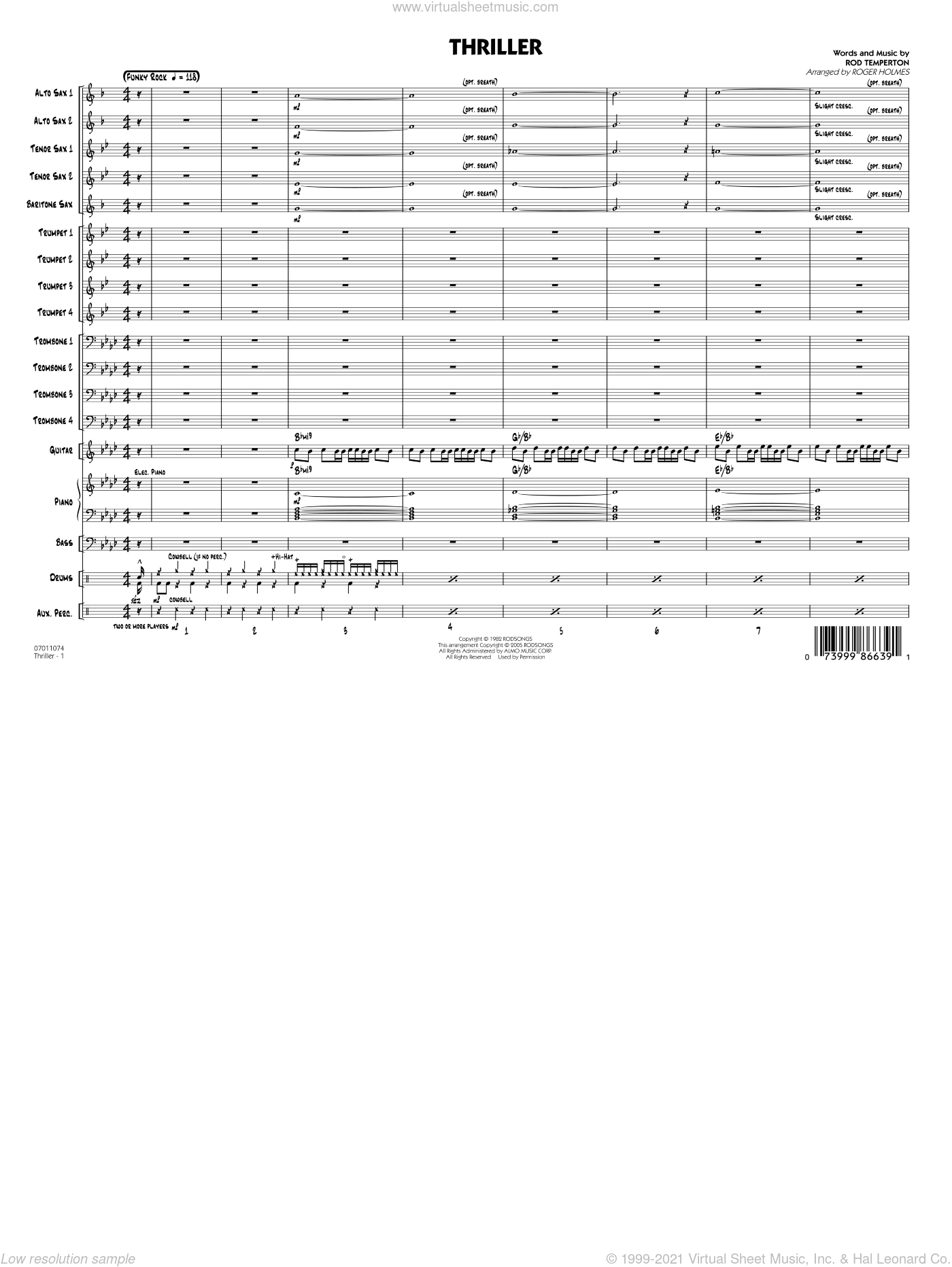 Thriller, complete set of parts sheet music for jazz band (full score) by Rod Temperton