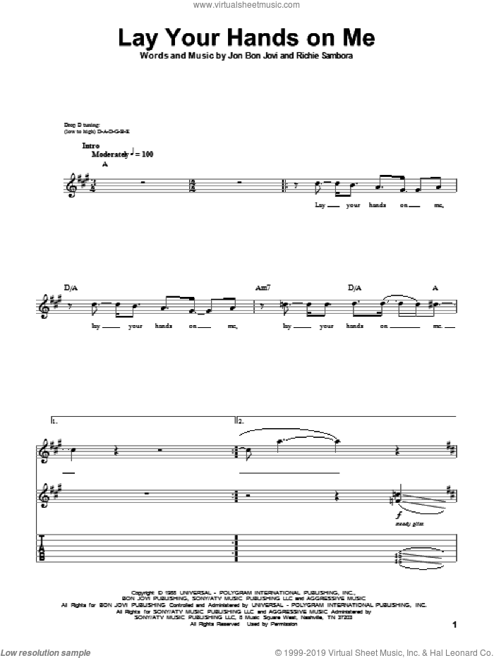 Lay Your Hands On Me sheet music for guitar (tablature, play-along) by Bon Jovi and Richie Sambora, intermediate skill level