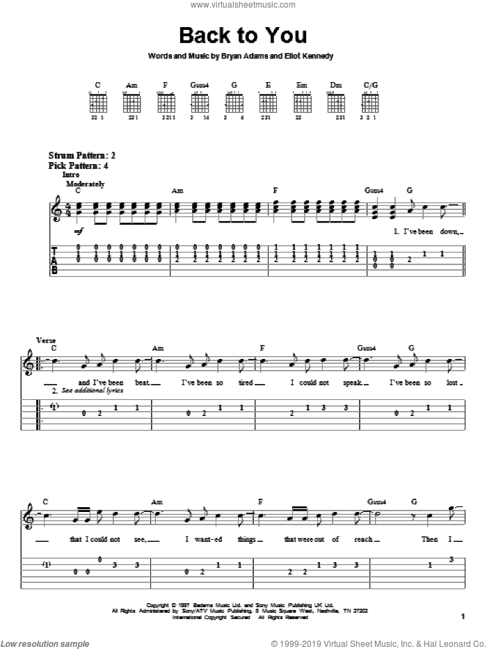 Back To You sheet music for guitar solo (easy tablature) by Bryan Adams and Eliot Kennedy, easy guitar (easy tablature)