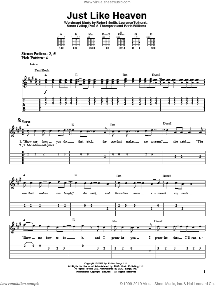 Just Like Heaven sheet music for guitar solo (easy tablature) by The Cure, Boris Williams, Laurence Tolhurst, Paul S. Thompson, Robert Smith and Simon Gallup, easy guitar (easy tablature)