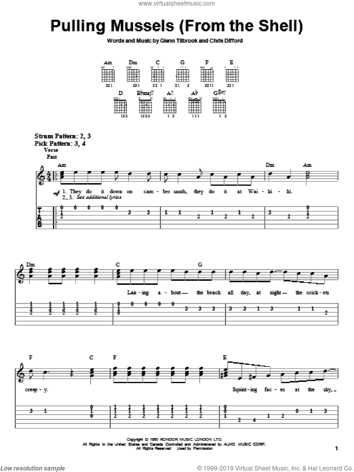 Pulling Mussels (From The Shell) sheet music for guitar solo (easy tablature) by Glenn Tilbrook. Score Image Preview.