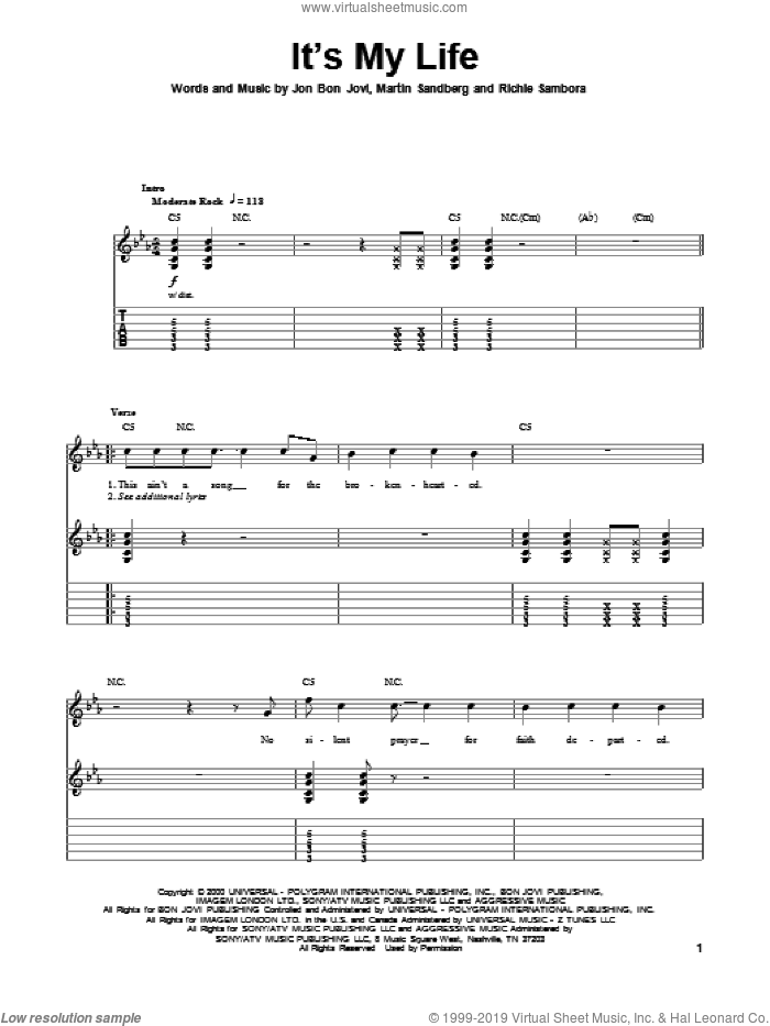 It's My Life sheet music for guitar (tablature, play-along) by Richie Sambora, Bon Jovi and Martin Sandberg. Score Image Preview.