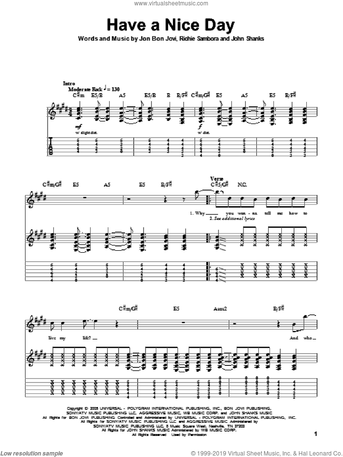 Have A Nice Day sheet music for guitar (tablature, play-along) by Bon Jovi, John Shanks and Richie Sambora, intermediate