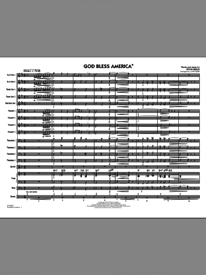 God Bless America (COMPLETE) sheet music for jazz band by Irving Berlin and John Berry, intermediate skill level