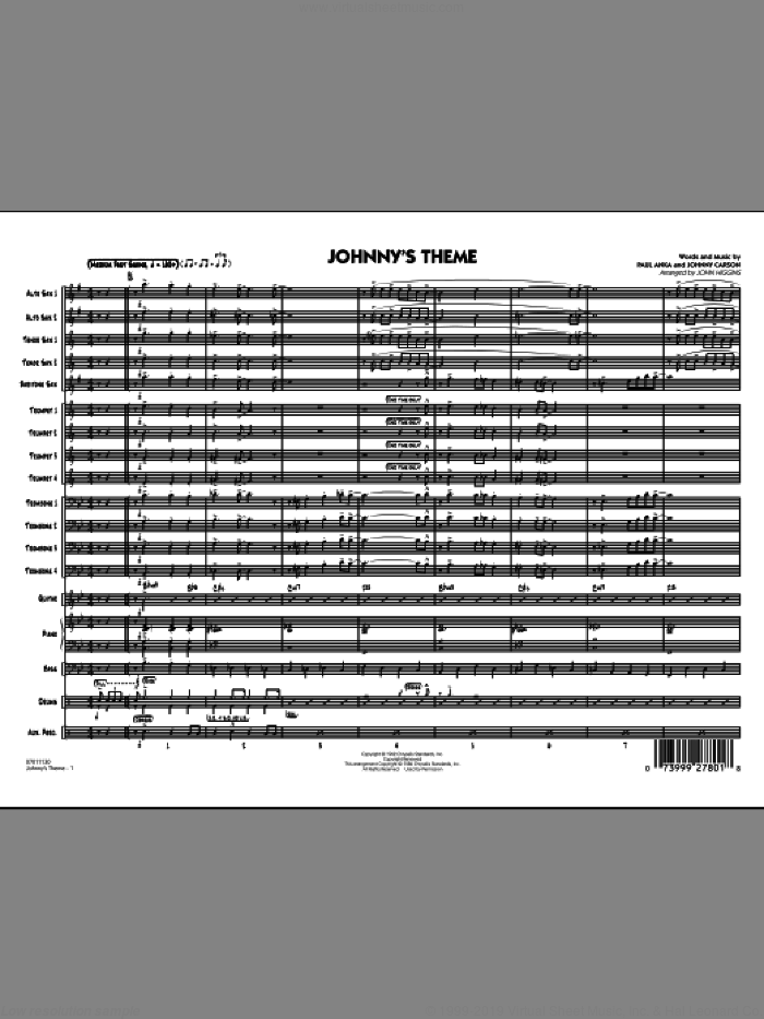 Johnny's Theme (from The Tonight Show) (COMPLETE) sheet music for jazz band by Paul Anka, John Higgins and Johnny Carson, intermediate. Score Image Preview.