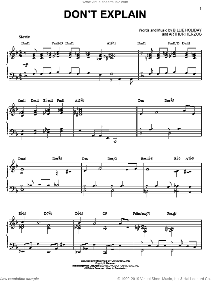 Don't Explain sheet music for piano solo by Arthur Herzog Jr.