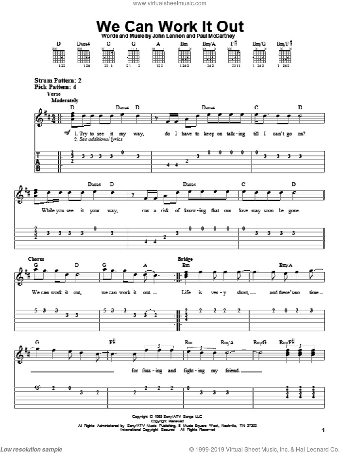We Can Work It Out sheet music for guitar solo (easy tablature) by Paul McCartney, The Beatles and John Lennon, easy guitar (easy tablature)