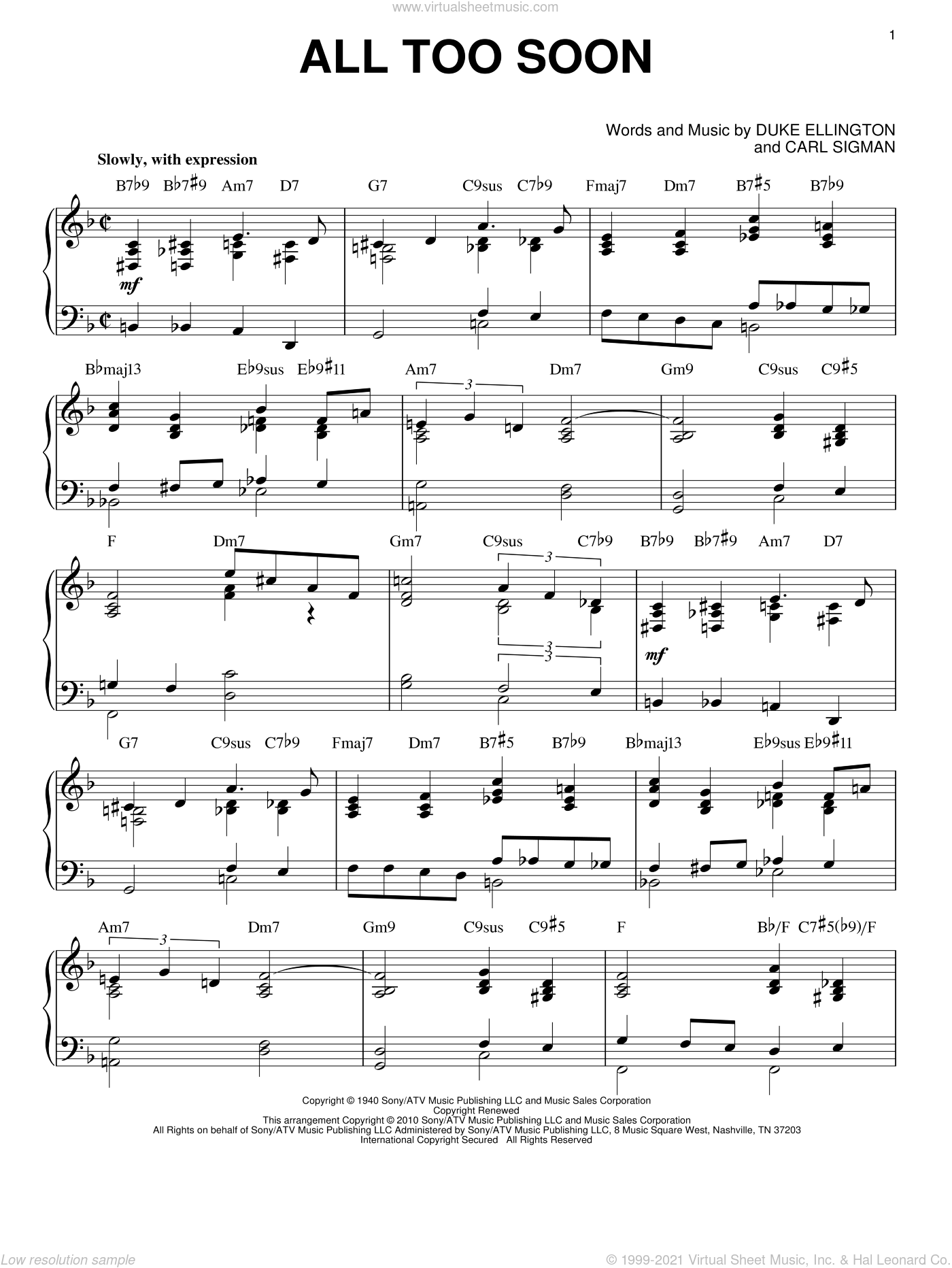 All Too Soon sheet music for piano solo by Duke Ellington and Carl Sigman, intermediate skill level