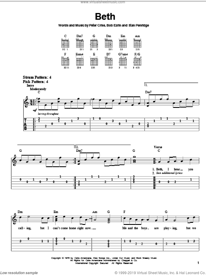 Beth sheet music for guitar solo (easy tablature) by KISS, Bob Ezrin, Peter Criss and Stan Penridge. Score Image Preview.