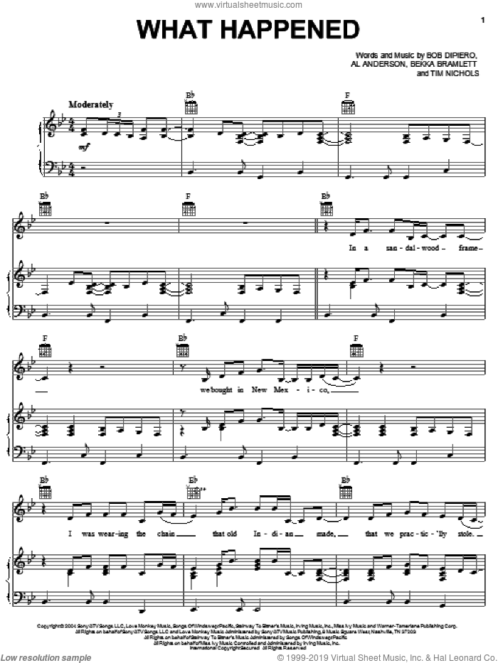 What Happened sheet music for voice, piano or guitar by Gretchen Wilson, Al Anderson, Bekka Bramlett, Bob DiPiero and Tim Nichols, intermediate skill level