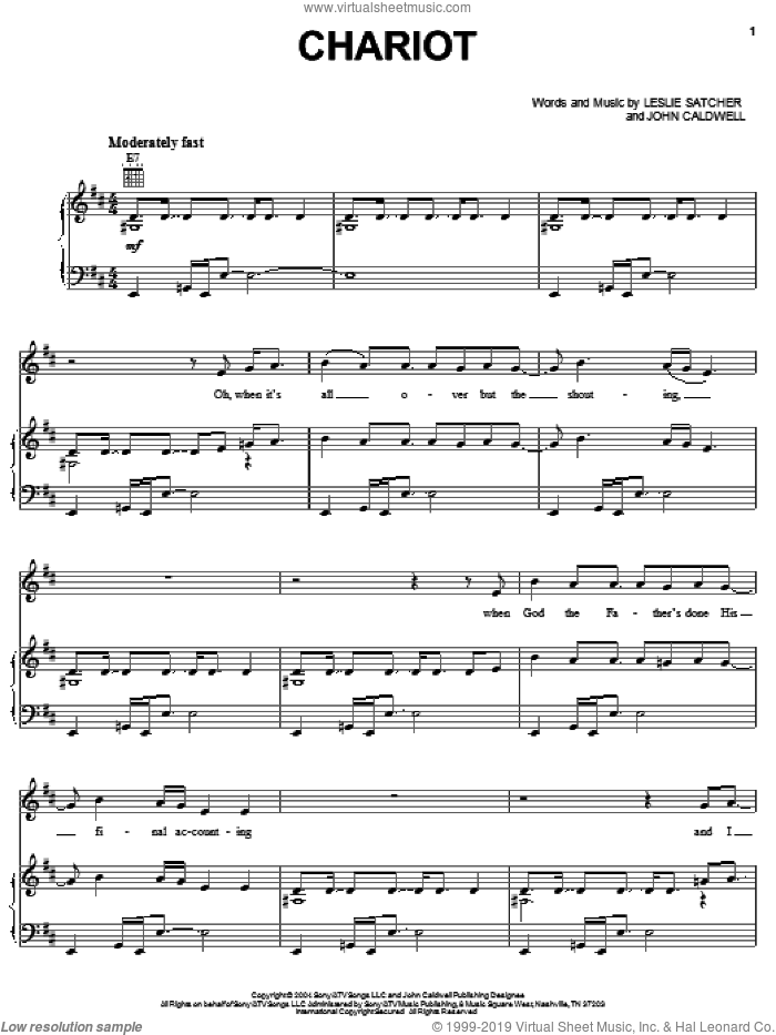 Chariot sheet music for voice, piano or guitar by Gretchen Wilson, John Caldwell and Leslie Satcher, intermediate. Score Image Preview.