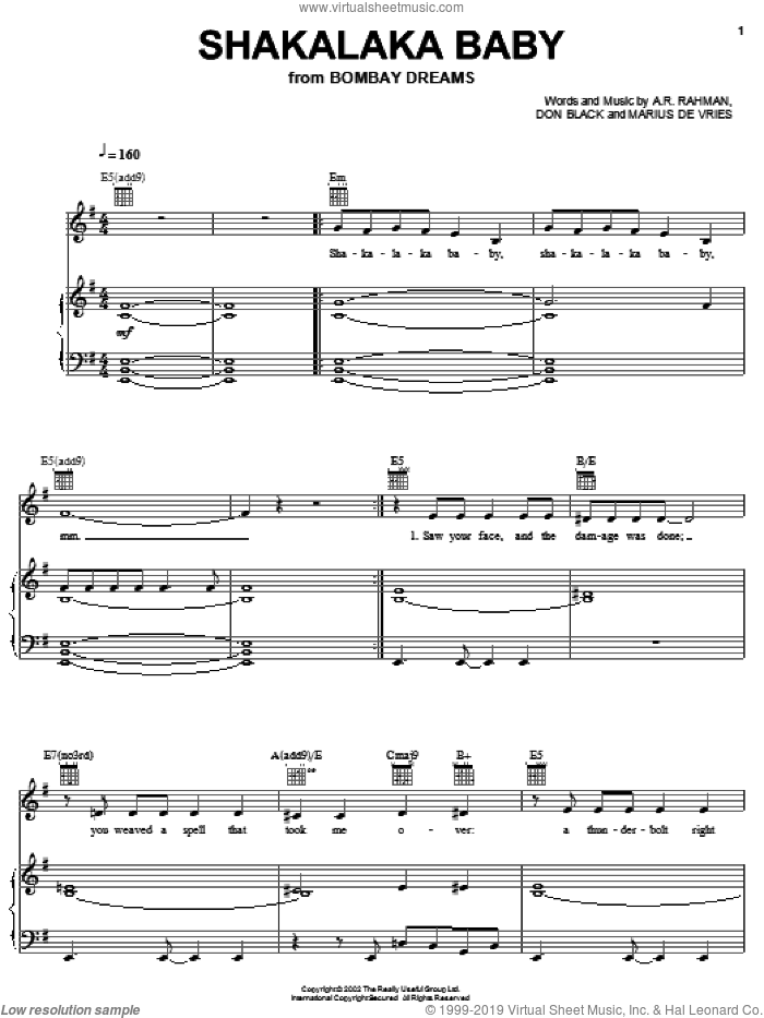 Shakalaka Baby sheet music for voice, piano or guitar by Marius De Vries, A.R. Rahman and Don Black. Score Image Preview.