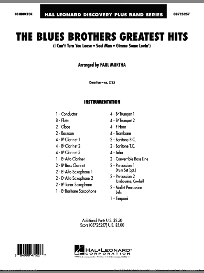 The Blues Brothers Greatest Hits (COMPLETE) sheet music for concert band by Paul Murtha and Blues Brothers, intermediate. Score Image Preview.
