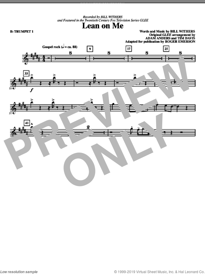 Lean On Me (complete set of parts) sheet music for orchestra/band by Bill Withers, Adam Anders, Glee Cast, Miscellaneous, Roger Emerson and Tim Davis, intermediate skill level