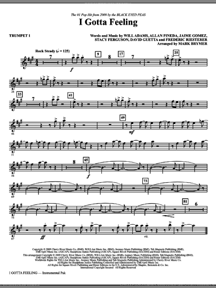 I Gotta Feeling (complete set of parts) sheet music for orchestra/band by Will Adams, Allan Pineda, David Guetta, Frederic Riesterer, Jaime Gomez, Stacy Ferguson, Black Eyed Peas and Mark Brymer, intermediate skill level
