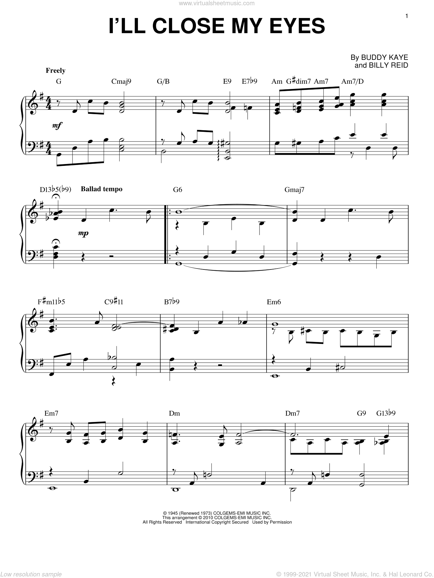 I'll Close My Eyes sheet music for piano solo by Buddy Kaye, Kenny Burrell and Billy Reid. Score Image Preview.