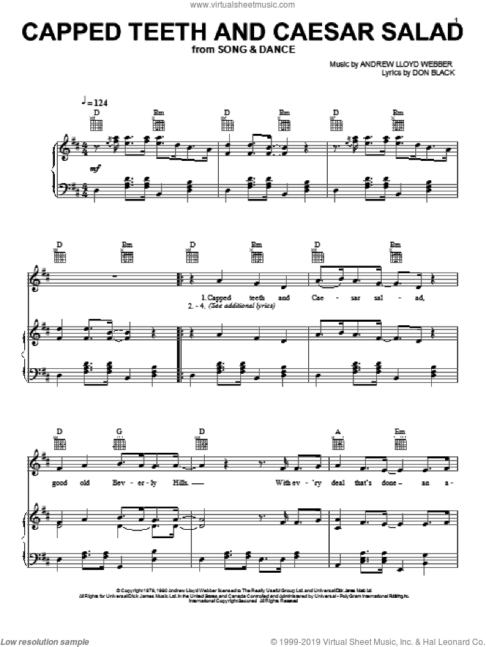 Capped Teeth And Caesar Salad sheet music for voice, piano or guitar by Andrew Lloyd Webber, Bernadette Peters, Song And Dance (Musical) and Don Black, intermediate skill level