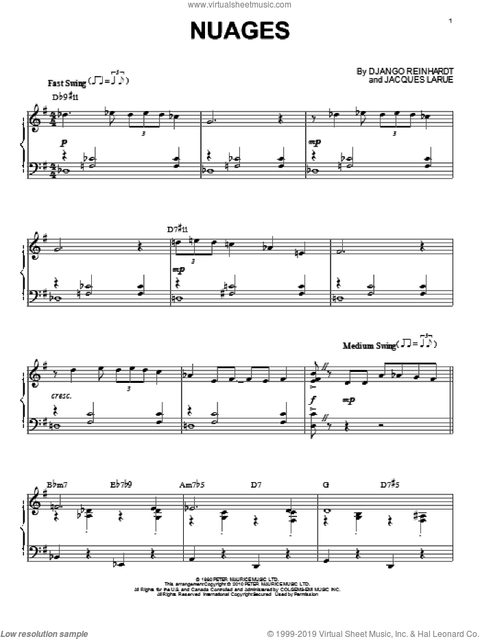 Nuages sheet music for piano solo by Django Reinhardt and Jacques Larue, intermediate skill level