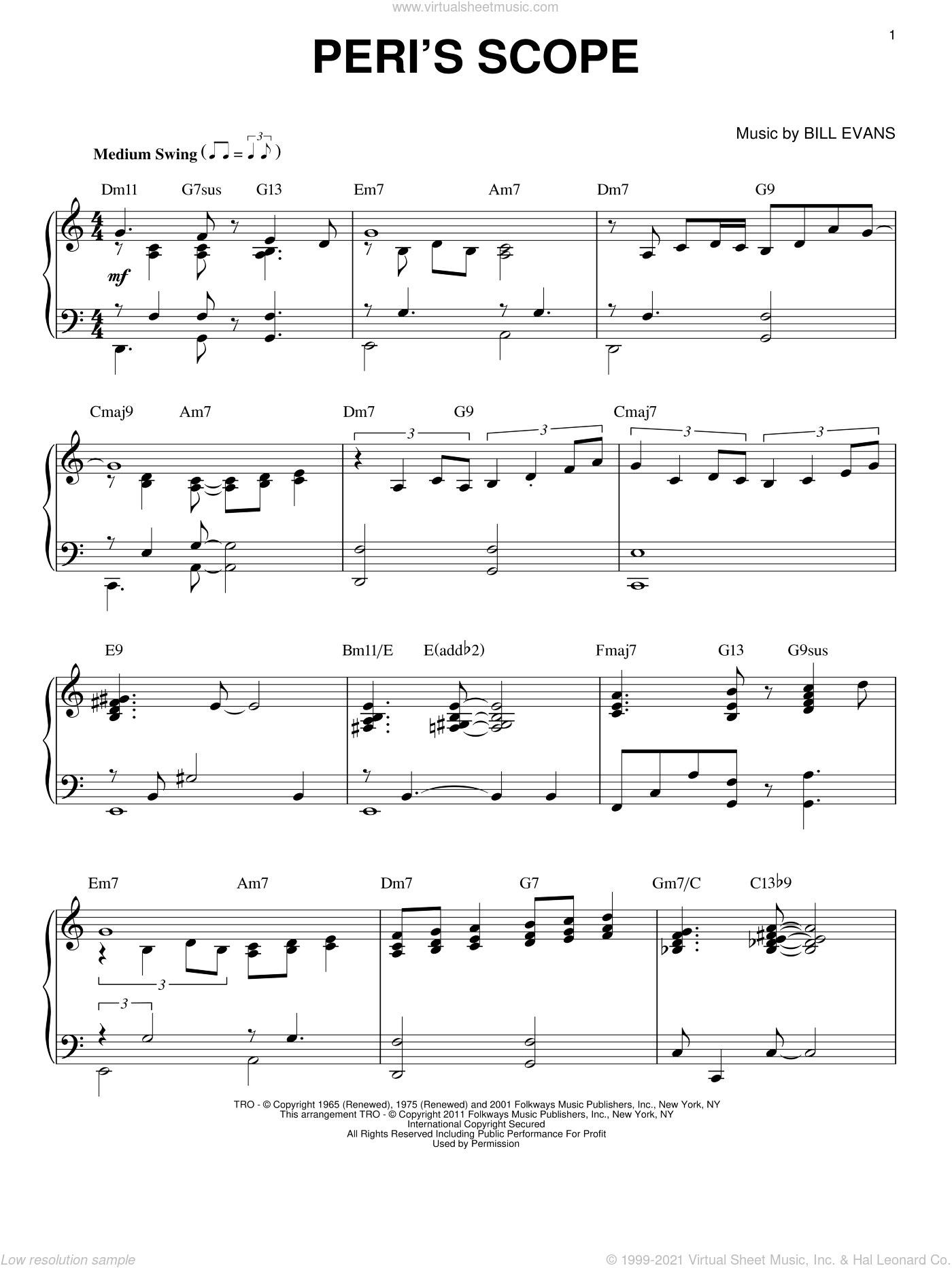 Peri's Scope sheet music for piano solo by Bill Evans, intermediate skill level