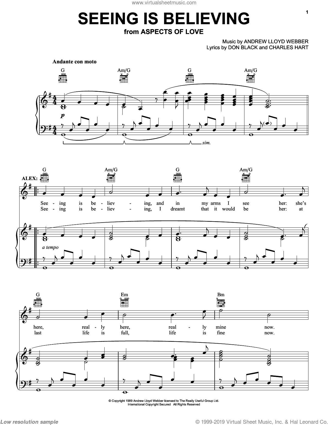 Seeing Is Believing sheet music for voice, piano or guitar by Don Black, Andrew Lloyd Webber and Charles Hart. Score Image Preview.