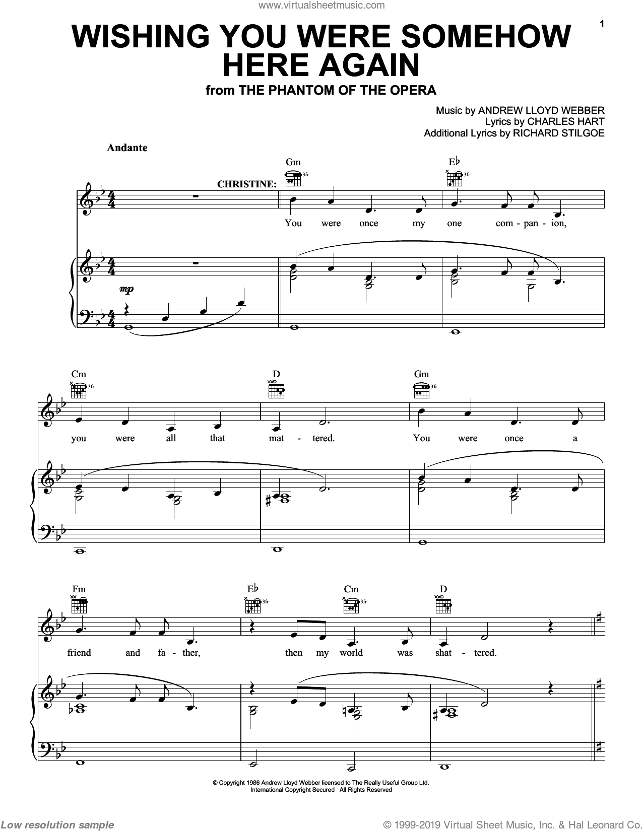 Wishing You Were Somehow Here Again sheet music for voice, piano or guitar by Andrew Lloyd Webber, intermediate voice, piano or guitar. Score Image Preview.