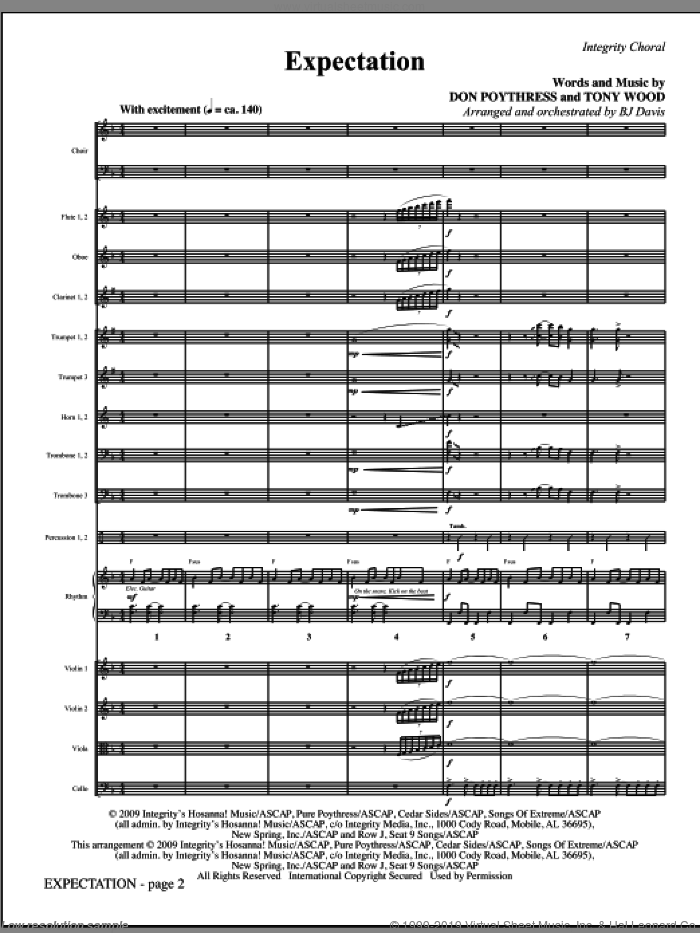 Expectation (COMPLETE) sheet music for orchestra/band (Orchestra) by Tony Wood, Don Poythress and BJ Davis, intermediate skill level