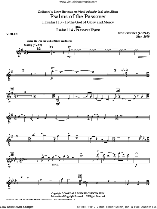 Psalms Of The Passover (COMPLETE) sheet music for orchestra by Ed Lojeski