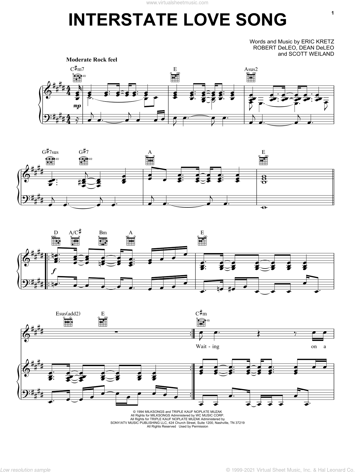 Interstate Love Song sheet music for voice, piano or guitar by Scott Weiland. Score Image Preview.