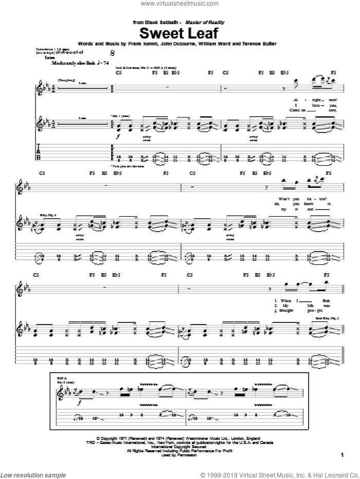 Sweet Leaf sheet music for guitar (tablature) by William Ward