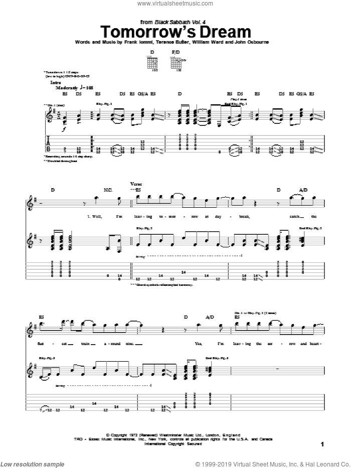 Tomorrow's Dream sheet music for guitar (tablature) by William Ward, Black Sabbath, Ozzy Osbourne and Terence Butler. Score Image Preview.