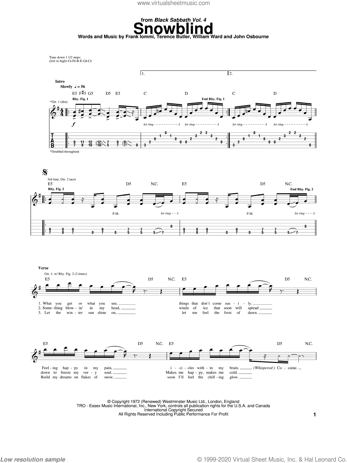 Snowblind sheet music for guitar (tablature) by William Ward