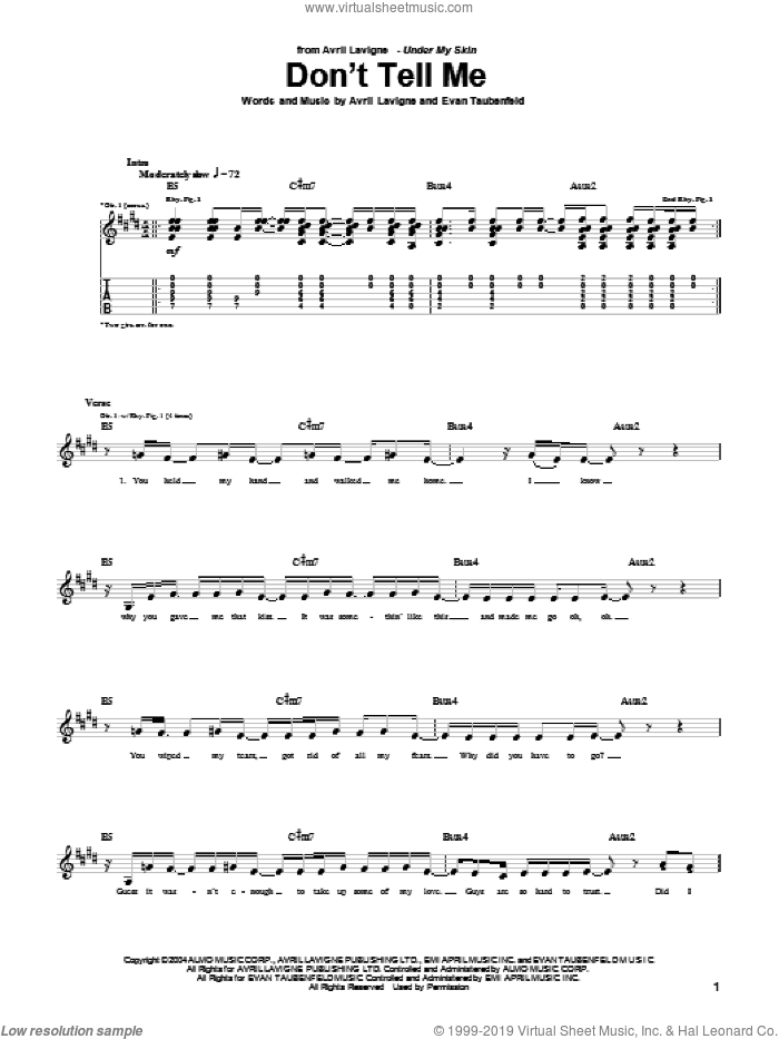Don't Tell Me sheet music for guitar (tablature) by Avril Lavigne and Evan Taubenfeld, intermediate. Score Image Preview.