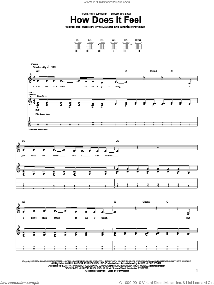 How Does It Feel sheet music for guitar (tablature) by Avril Lavigne and Chantal Kreviazuk. Score Image Preview.