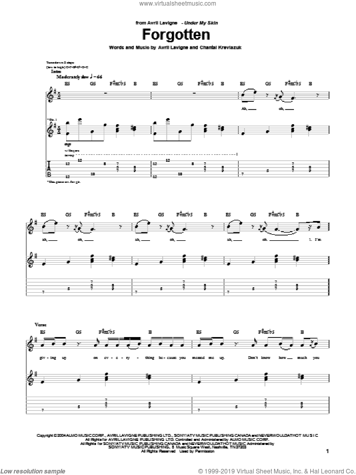 Forgotten sheet music for guitar (tablature) by Chantal Kreviazuk and Avril Lavigne. Score Image Preview.