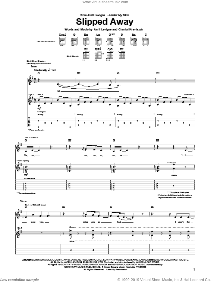 Slipped Away sheet music for guitar (tablature) by Chantal Kreviazuk and Avril Lavigne. Score Image Preview.