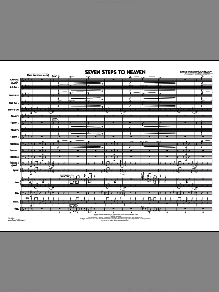 Seven Steps To Heaven (COMPLETE) sheet music for jazz band by Miles Davis and Gordon Goodwin, intermediate jazz band. Score Image Preview.