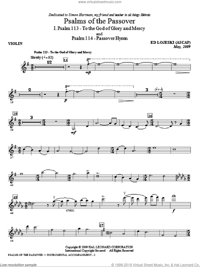 Psalms Of The Passover (complete set of parts) sheet music for orchestra/band (Piano Quartet) by Ed Lojeski, intermediate. Score Image Preview.