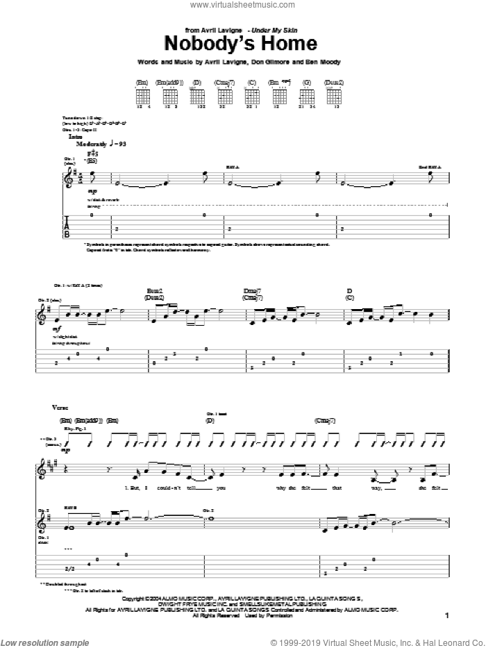 Nobody's Home sheet music for guitar (tablature) by Don Gilmore, Avril Lavigne and Ben Moody. Score Image Preview.