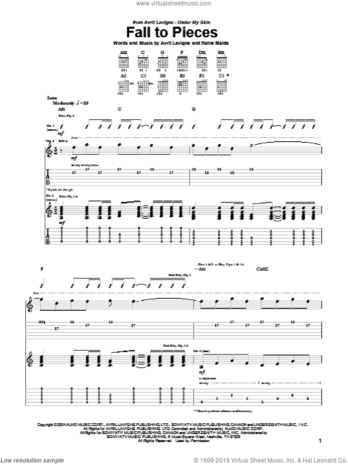 Fall To Pieces sheet music for guitar (tablature) by Raine Maida and Avril Lavigne. Score Image Preview.