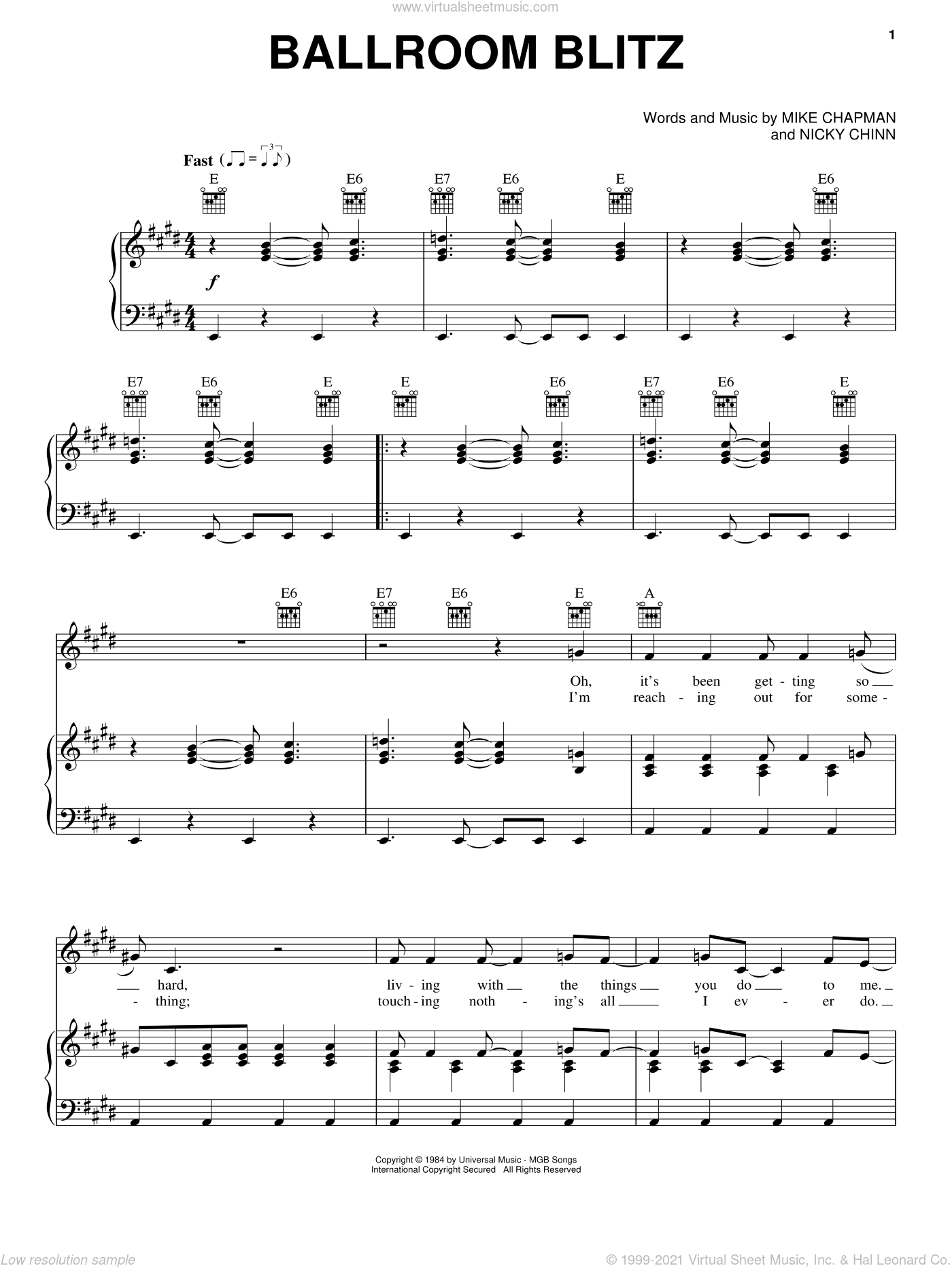 Ballroom Blitz sheet music for voice, piano or guitar by Nicky Chinn