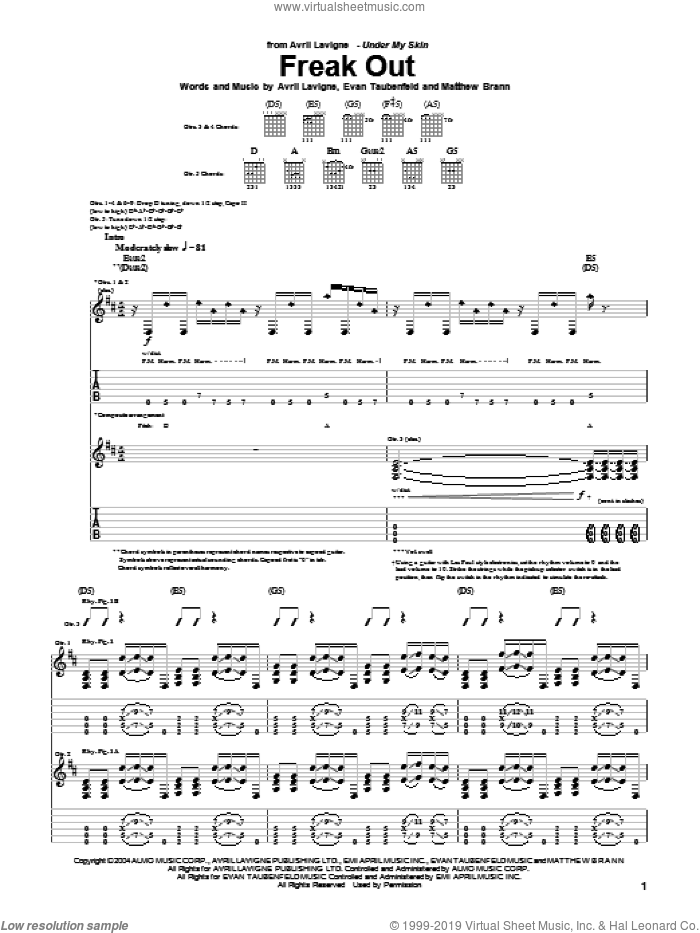 Freak Out sheet music for guitar (tablature) by Matthew Brann, Avril Lavigne and Evan Taubenfeld. Score Image Preview.