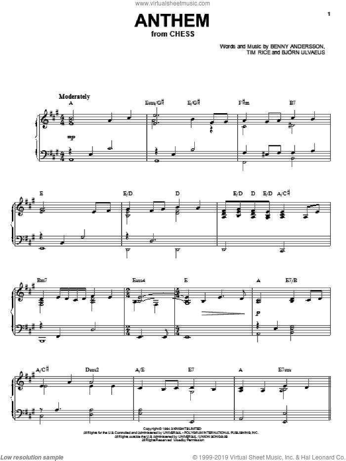 Anthem sheet music for voice, piano or guitar by Bjorn Ulvaeus
